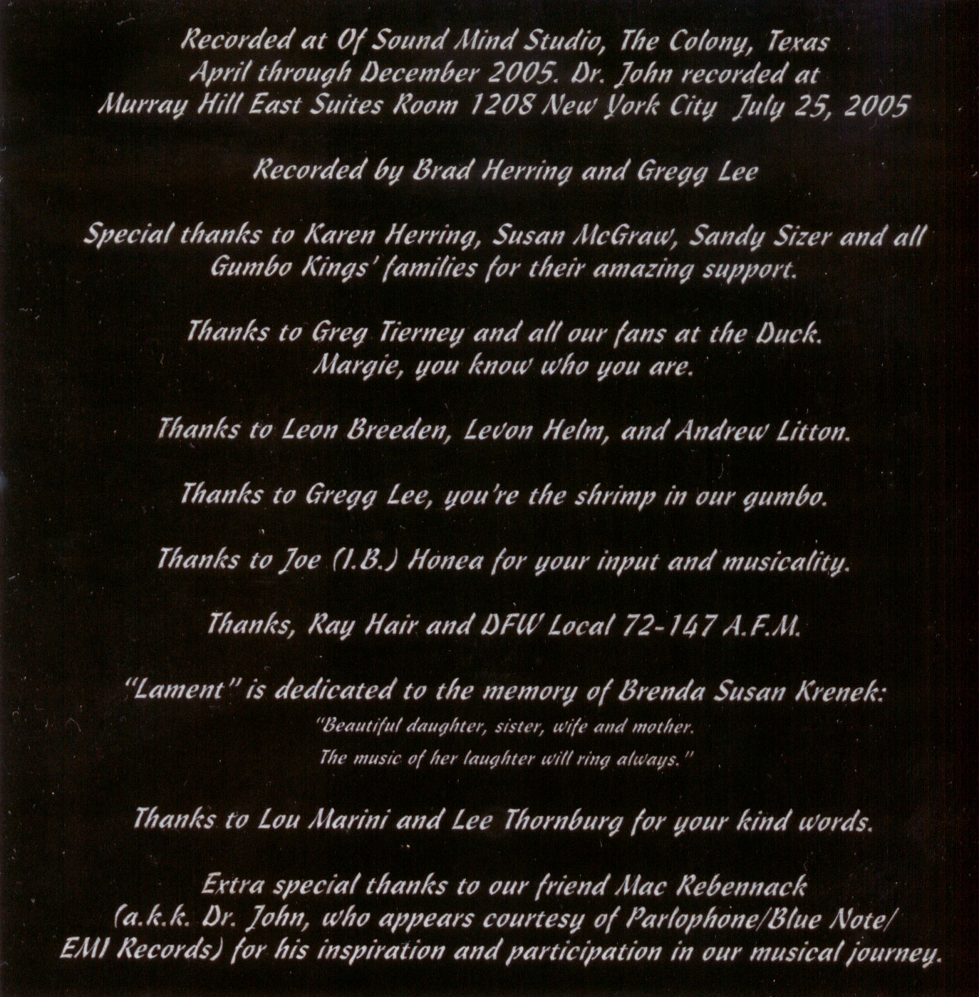 'UFO Saloon' - CD back cover
